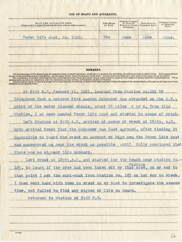 Report of Assistance, U.S. Coast Guard Station 186