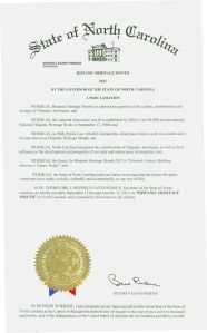Hispanic Heritage Month proclamation by Gov. Bev Perdue, 2012