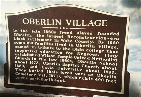 Photo of historic marker at the entrance of Oberlin Cemetery, by Fran Tracy-Walls, November 24, 2017