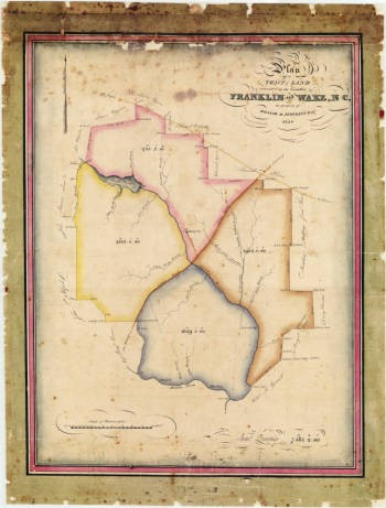Plan of a tract of land situated in the counties of Franklin and Wake, NC, the property of William M. Jeffreys, Esqr.