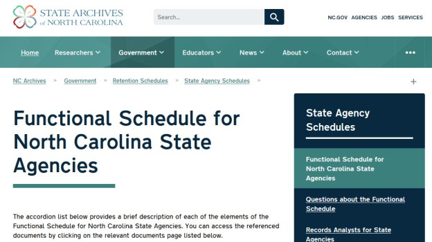 Screenshot of the new functional schedule web page