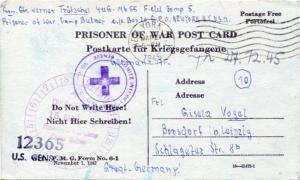 German prisoner of war postcard from World War II