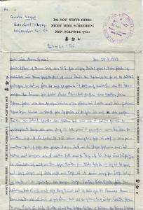Letter from German prisoner of war during World War II.