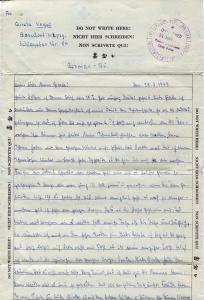 Letter from German prisoner of war during World War II.