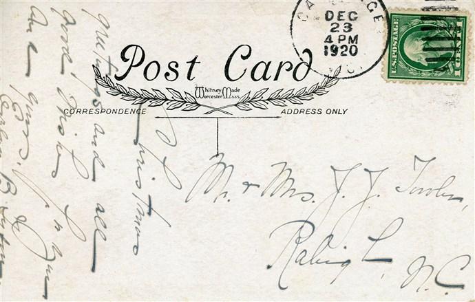 1920 Christmas postcard sent to Mr. and Mrs. James J. Towler, Raleigh, NC. PC.1995.B11.F6.B [back with message and stamp]