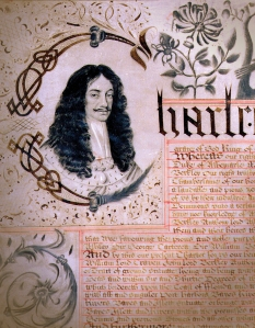 Detail of a portrait of King Charles on the first page of the Carolina Charter of 1663