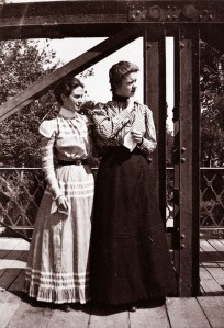Gertrude Weil (left) and another woman on a bridge. PC 1488.50 Weil Papers, State Archives of NC.