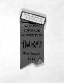 Gertrude Weil's National Suffrage Convention Delegate Ribbon, 1917.