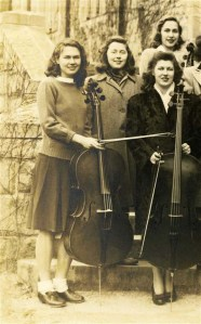 Mary Coker (far left, with cello) at Vassar College, ca. 1943, around the same time she was experimenting with soybean cultivation.