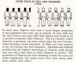 """Illustration """"Over Four in Ten Are Negroes (1940)"""" which begins: """"In times past, Negroes have been a much larger proportion of the population than they are at present. In fact, 1930 was the first Census year since 1810 that whites were found to be in greater proportion than Negroes..."""""""