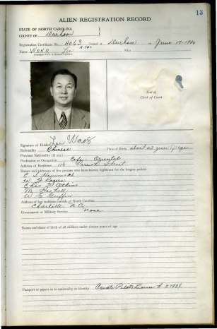 Image of Wong Lee's application for citizenship in Durham County, NC in 1940
