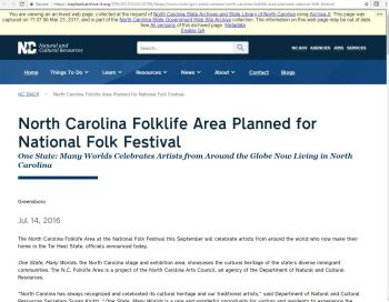 Image of archived webpage for 2016 National Folklife Festival in Greensboro, NC.