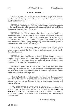 Governor Easley's proclamation of Lao-Hmong Recognition Day in NC, 2002.