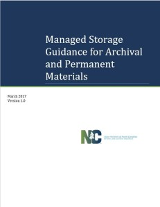 Cover of the Managed Storage Guidance for Archival and Permanent Materials