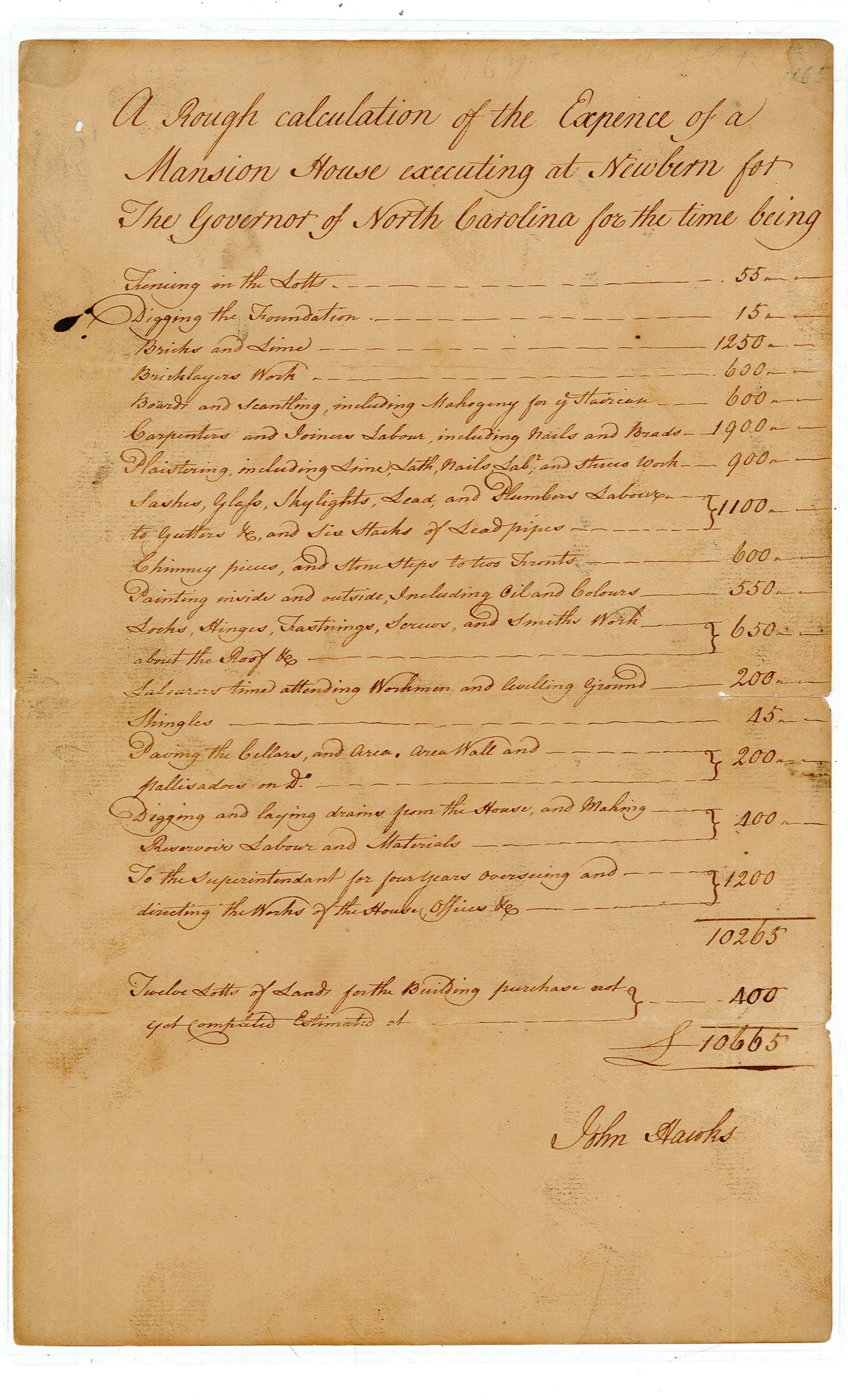 Expense for Governor's Mansion, 1767