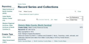 screenshot of a search in the new online catalog for 'Wake County'